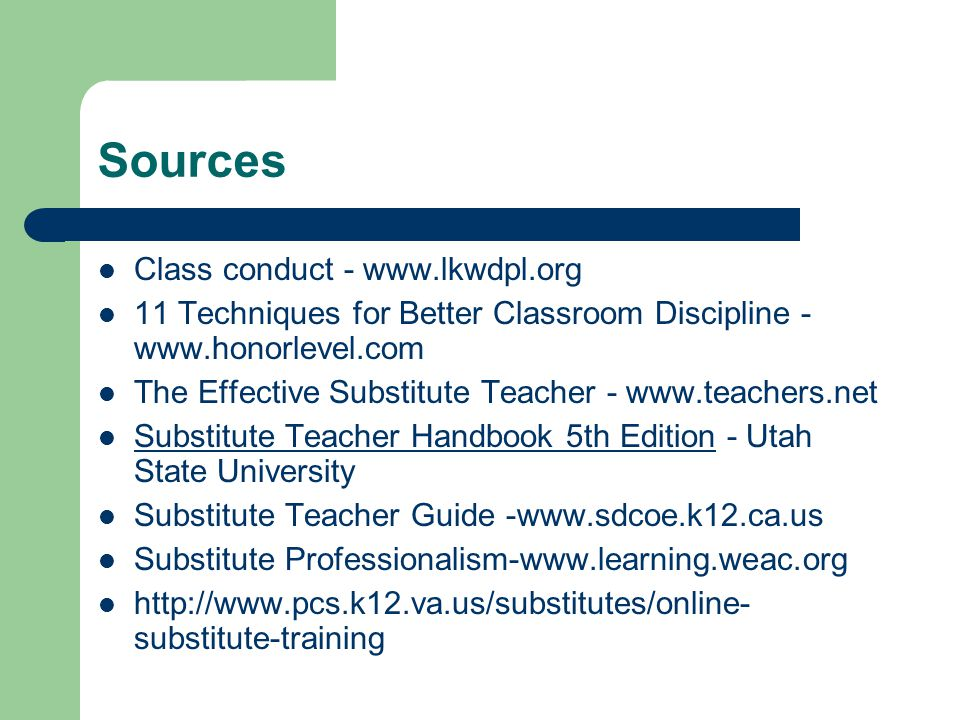 Sources Class conduct - www.lkwdpl.org