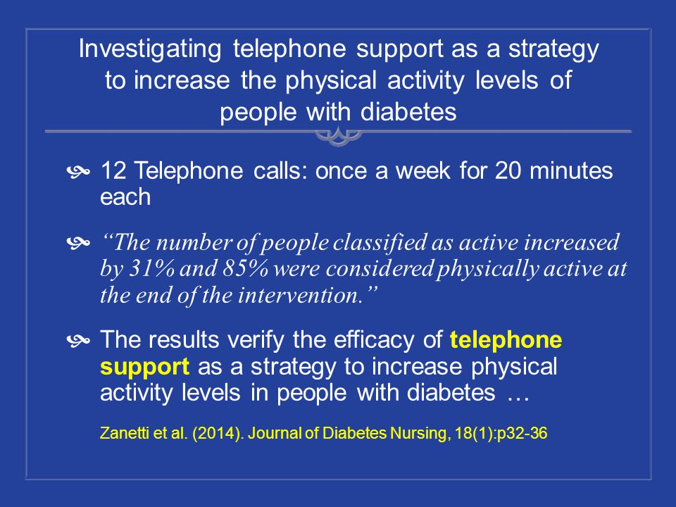 Investigating telephone support as a strategy to increase the physical activity levels of people with diabetes