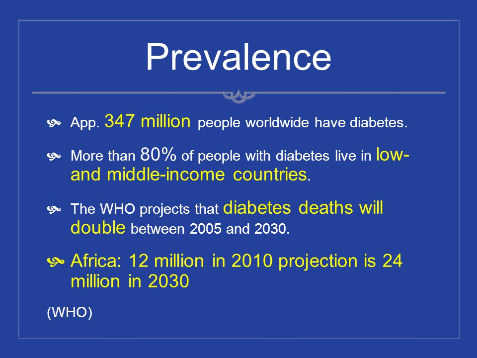 Prevalence Africa: 12 million in 2010 projection is 24 million in 2030