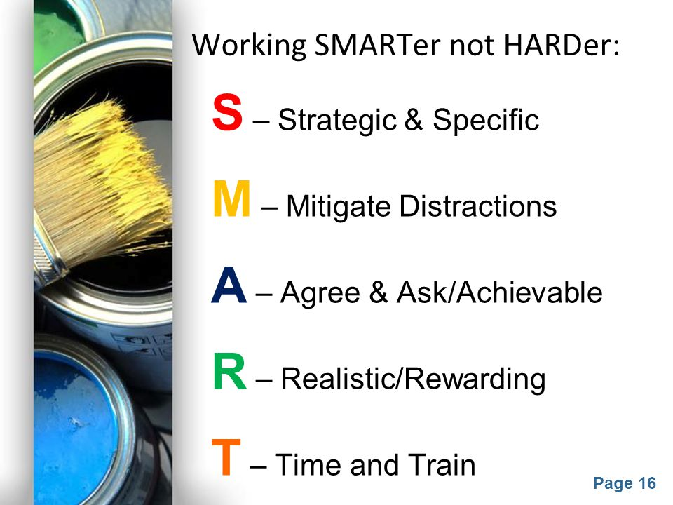 Working SMARTer not HARDer: