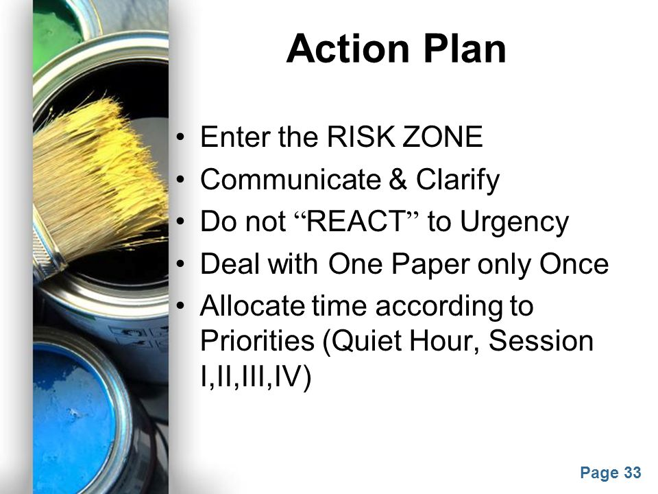 Action Plan Enter the RISK ZONE Communicate & Clarify
