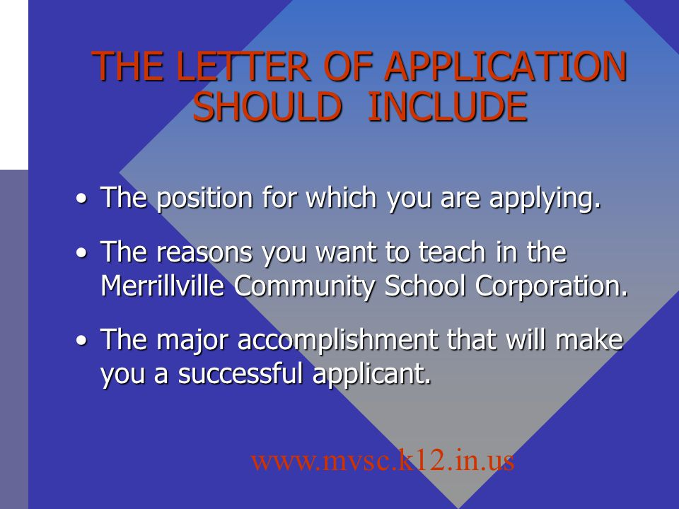 THE LETTER OF APPLICATION SHOULD INCLUDE