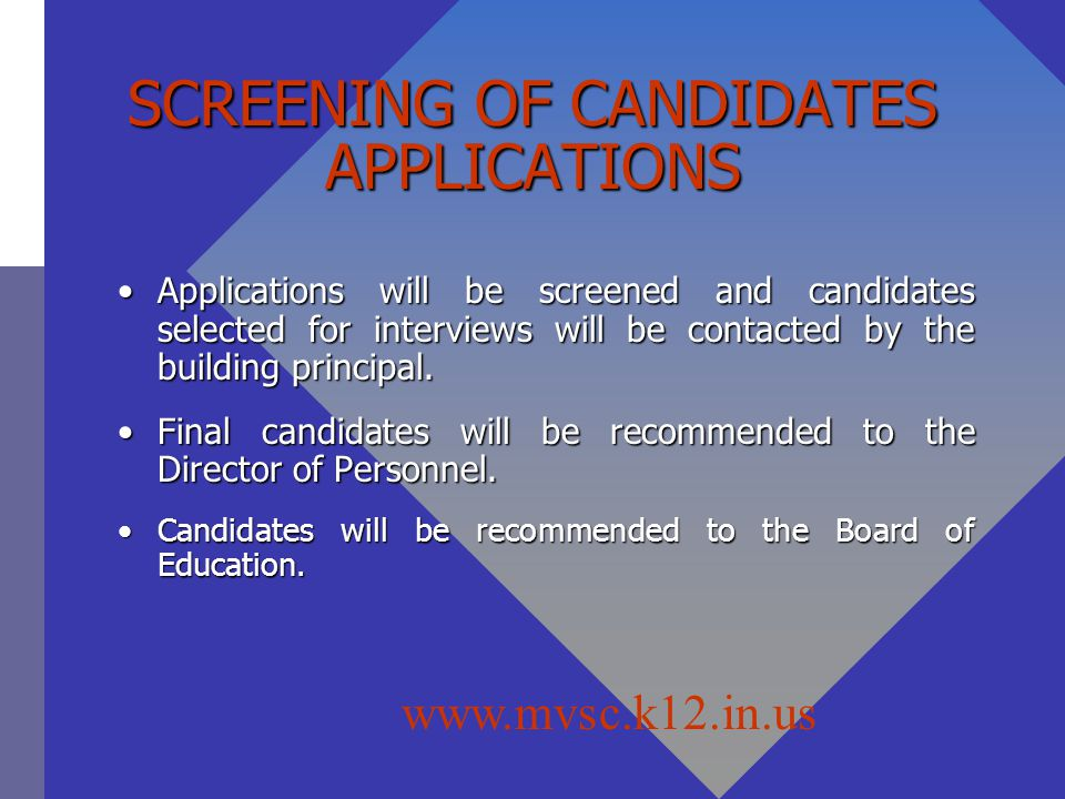 SCREENING OF CANDIDATES APPLICATIONS