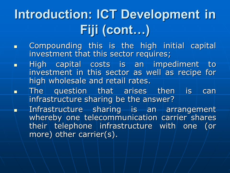 Introduction: ICT Development in Fiji (cont…)