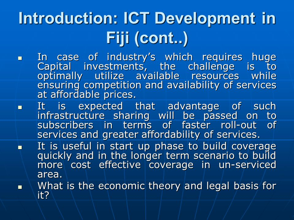 Introduction: ICT Development in Fiji (cont..)