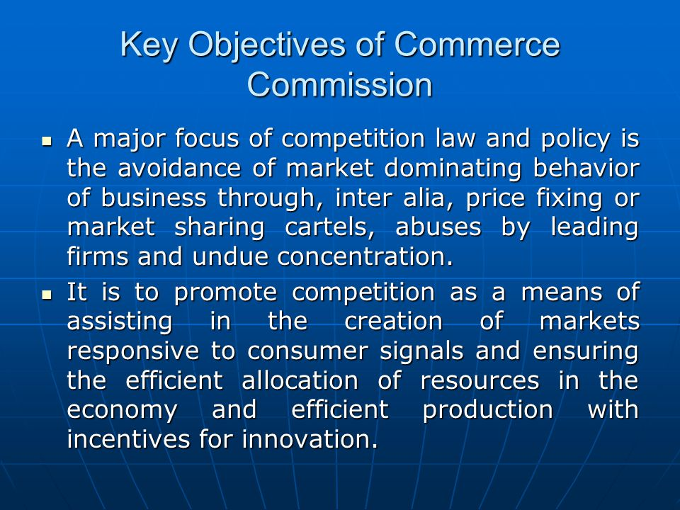 Key Objectives of Commerce Commission