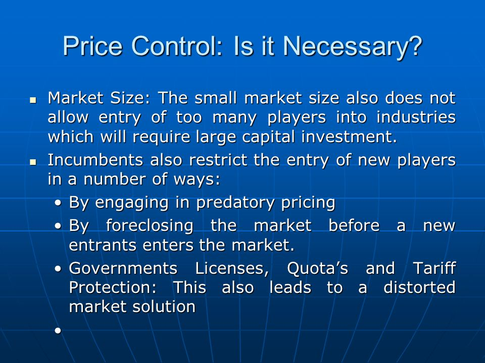Price Control: Is it Necessary