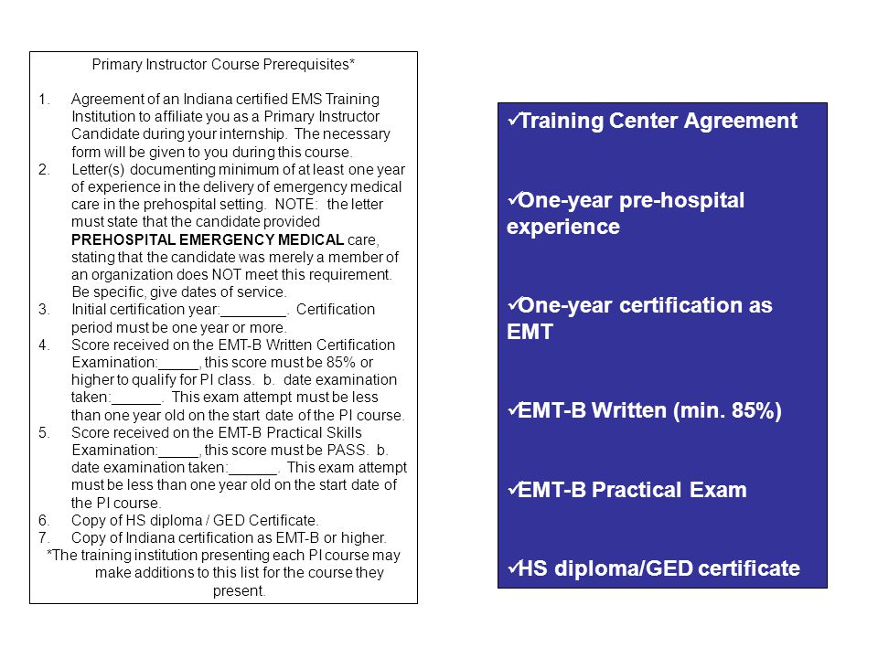 Primary Instructor Course Prerequisites*