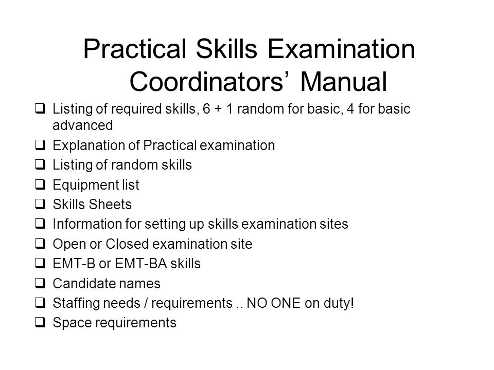 Practical Skills Examination Coordinators' Manual