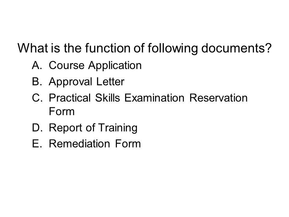 What is the function of following documents