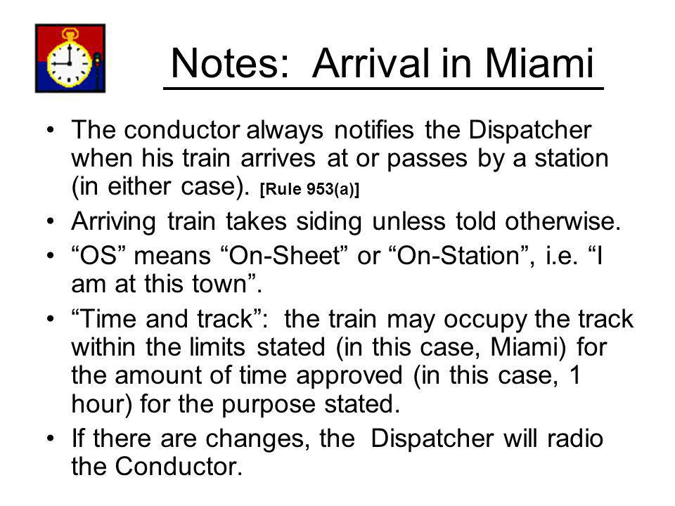 Notes: Arrival in Miami