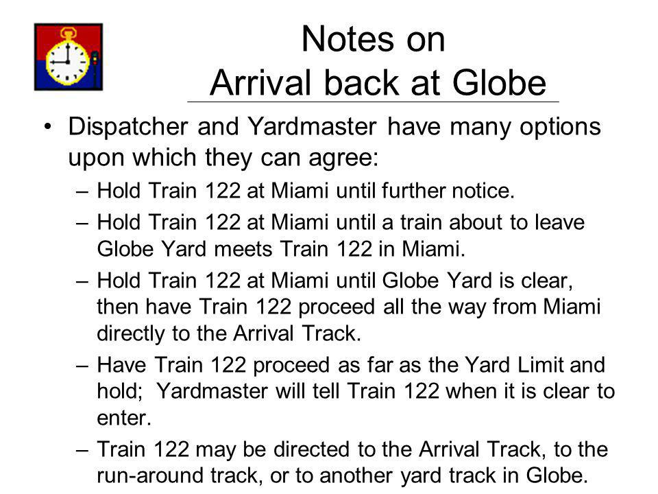 Notes on Arrival back at Globe