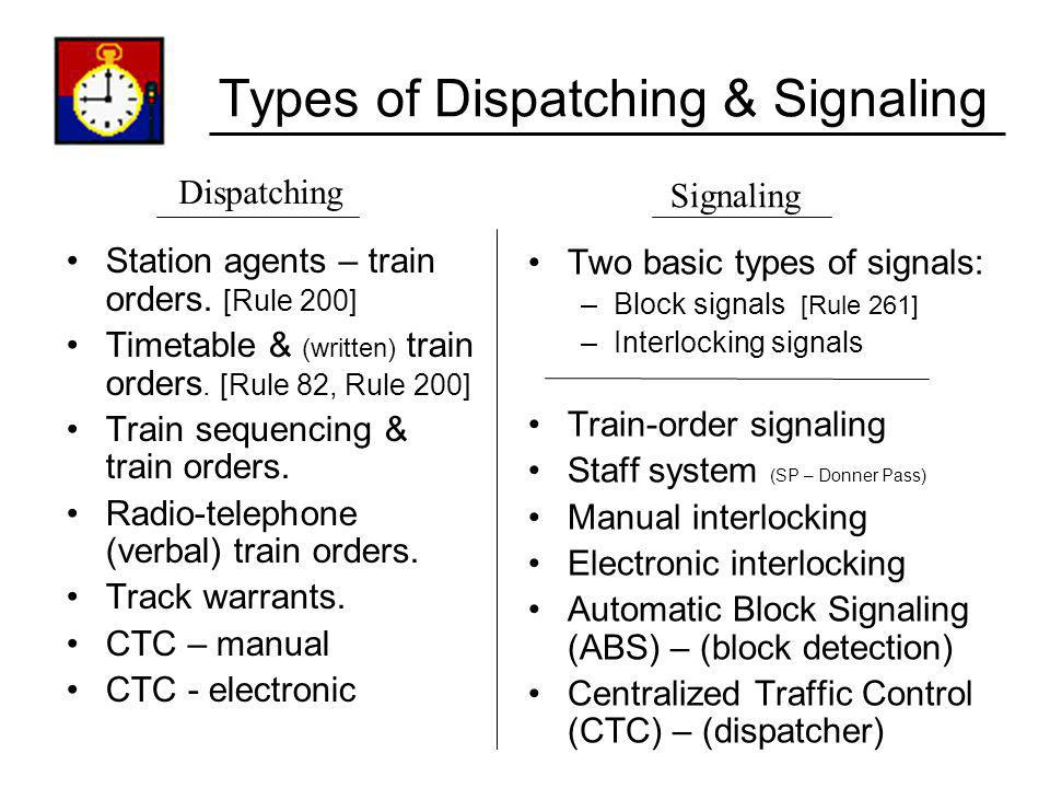 Types of Dispatching & Signaling