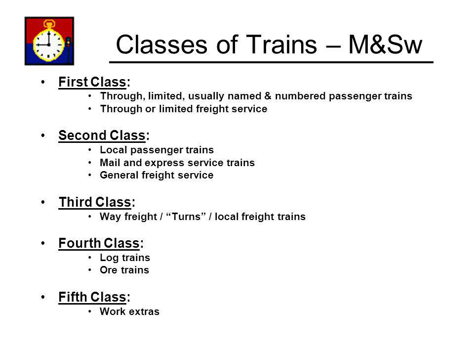 Classes of Trains – M&Sw