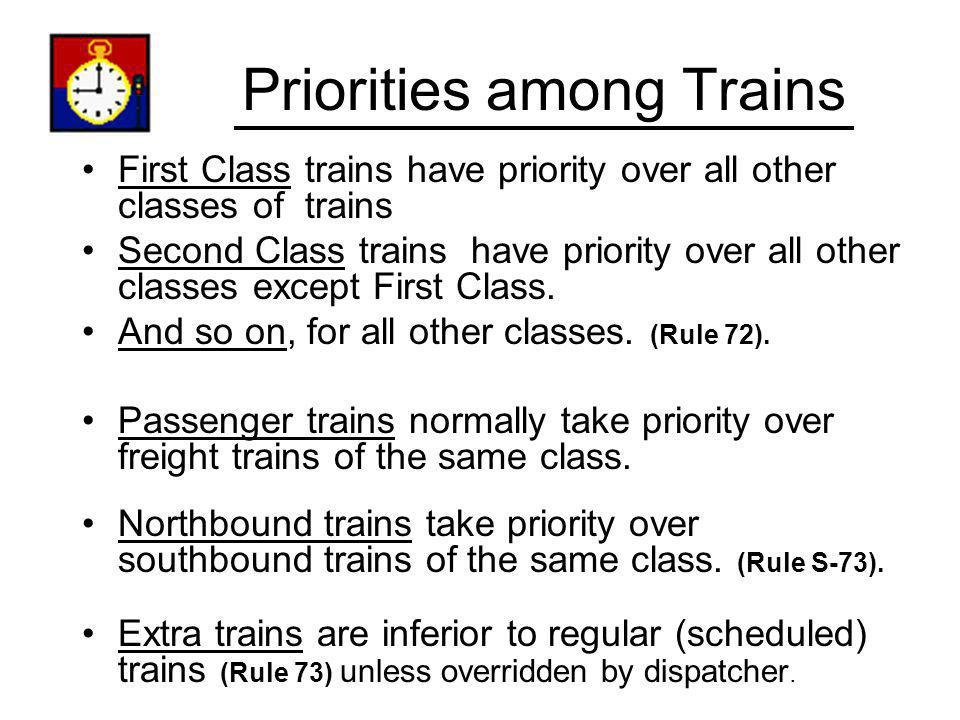 Priorities among Trains