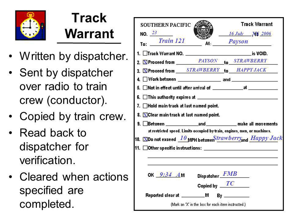 Track Warrant Written by dispatcher.