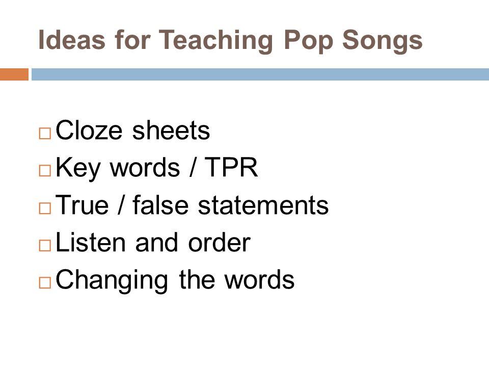Ideas for Teaching Pop Songs