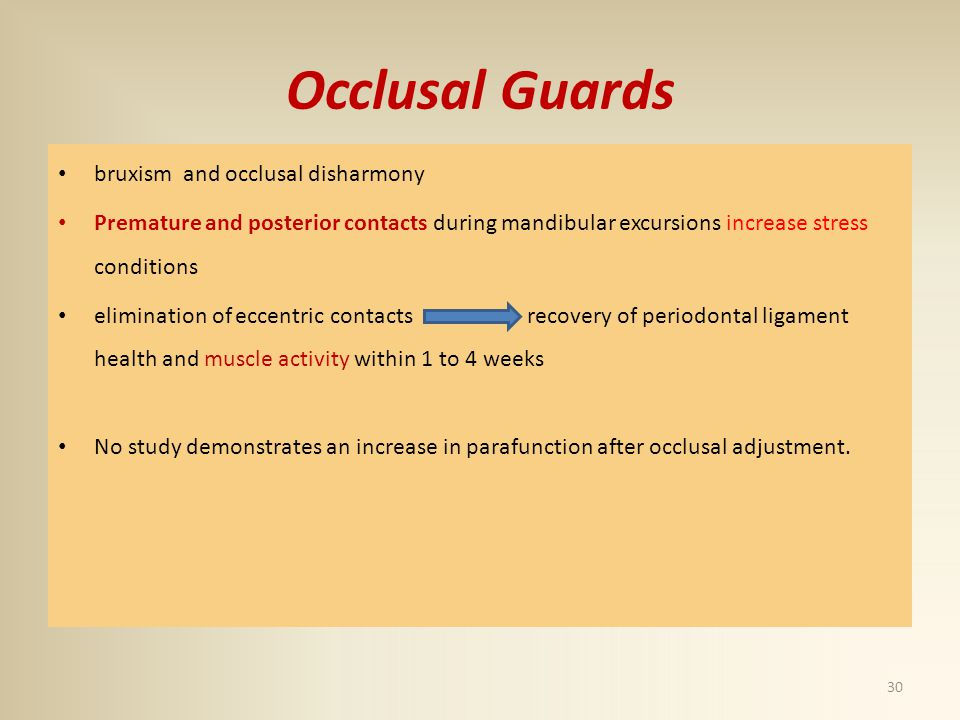 Occlusal Guards bruxism and occlusal disharmony