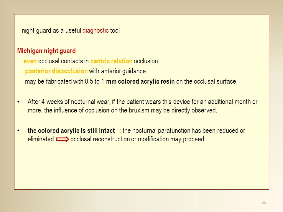 night guard as a useful diagnostic tool