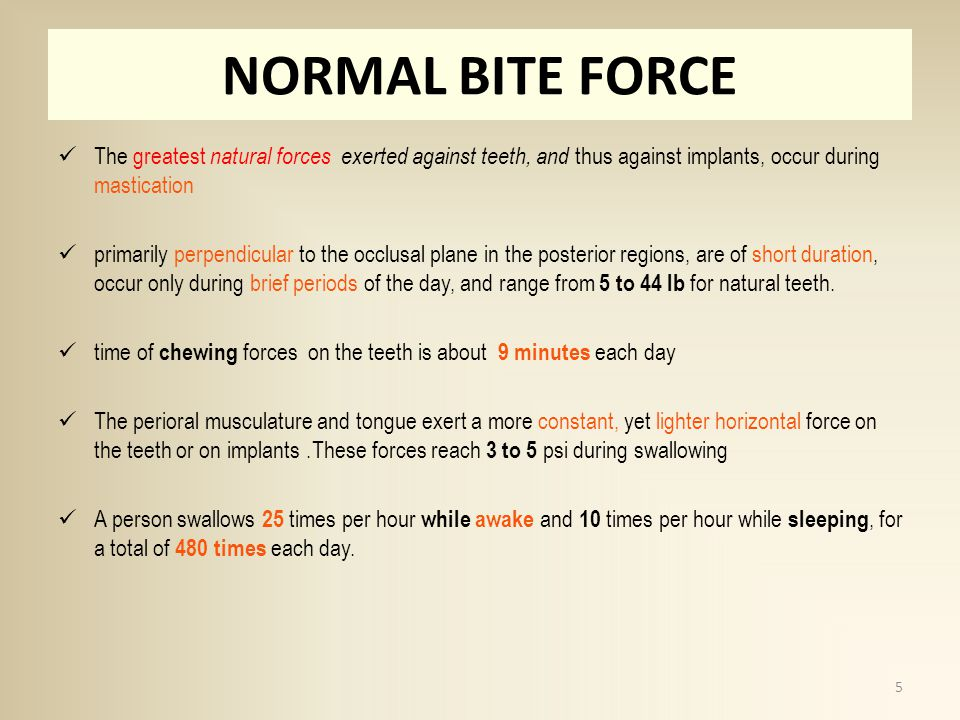 NORMAL BITE FORCE The greatest natural forces exerted against teeth, and thus against implants, occur during mastication.