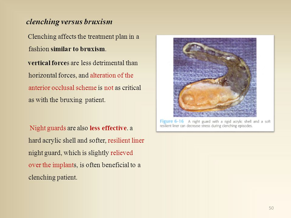 clenching versus bruxism Clenching affects the treatment plan in a fashion similar to bruxism.