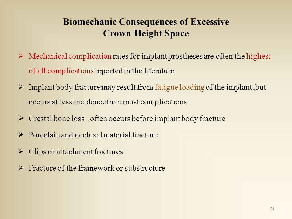 Biomechanic Consequences of Excessive Crown Height Space