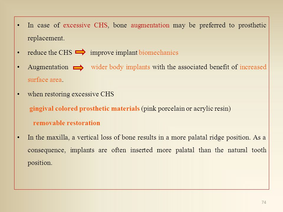 In case of excessive CHS, bone augmentation may be preferred to prosthetic replacement.