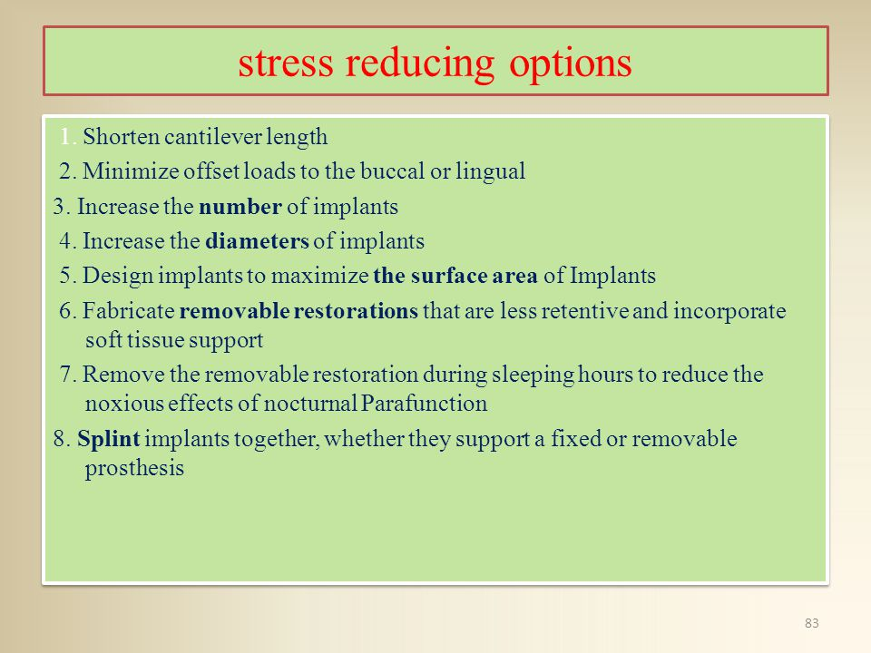 stress reducing options