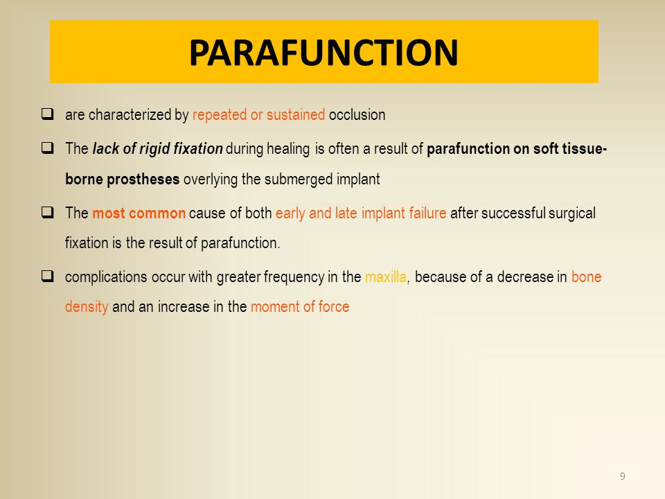 PARAFUNCTION are characterized by repeated or sustained occlusion