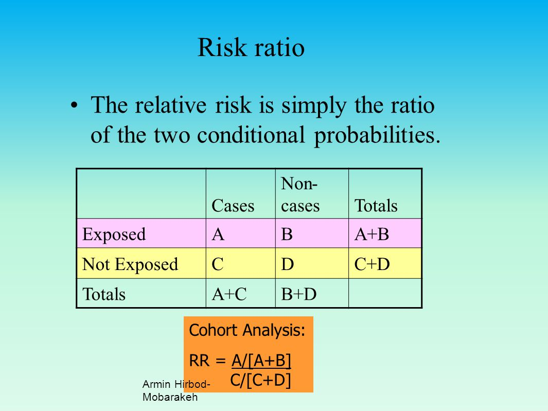 Risk ratio The relative risk is simply the ratio of the two conditional probabilities. Cases. Non-cases.