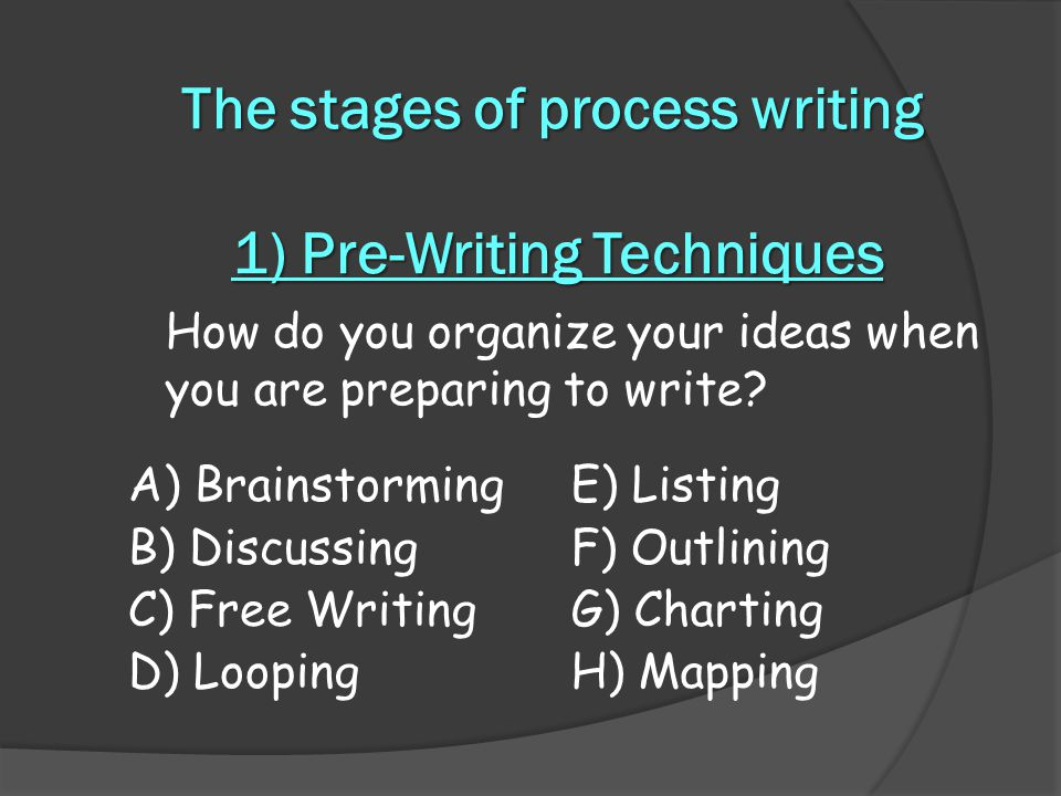 The stages of process writing 1) Pre-Writing Techniques