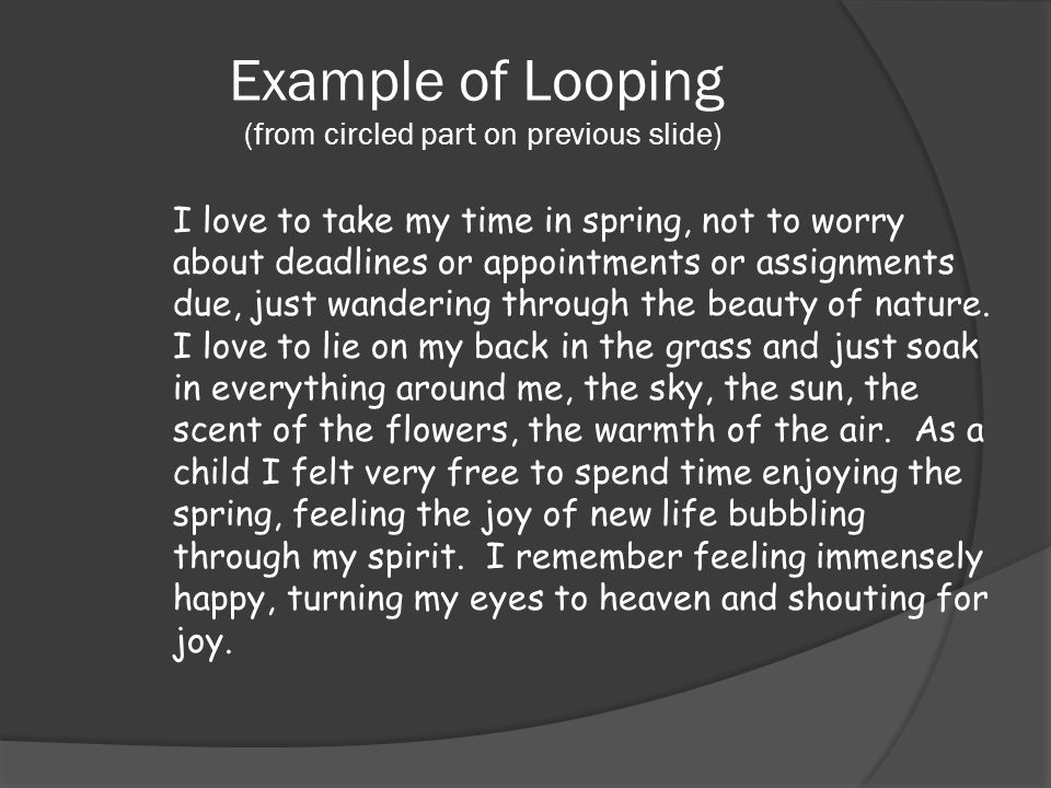 Example of Looping (from circled part on previous slide)