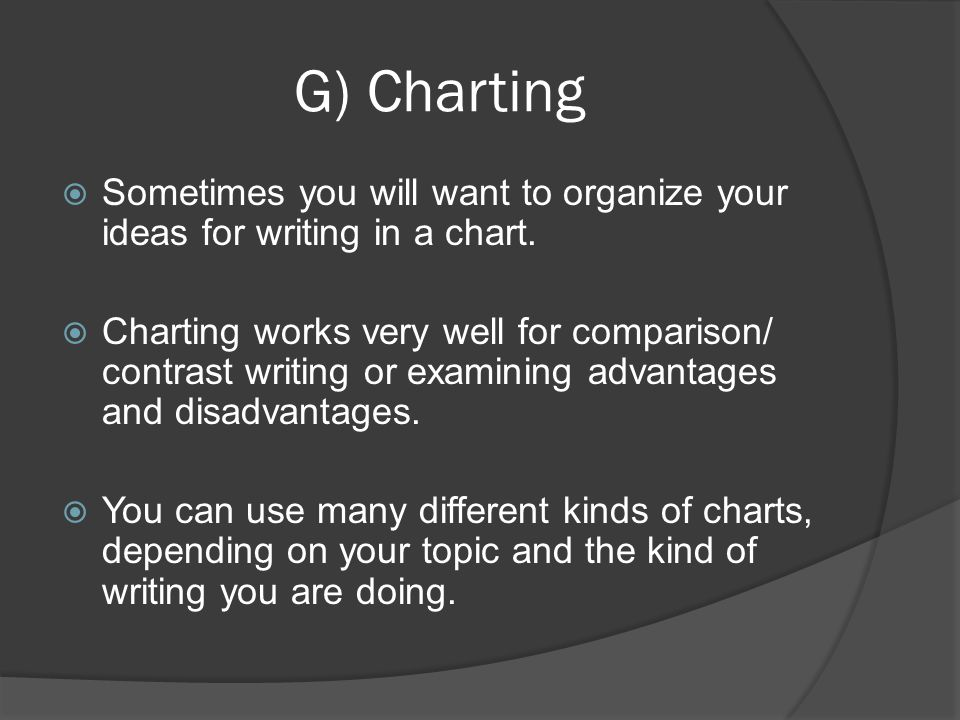 G) Charting Sometimes you will want to organize your ideas for writing in a chart.