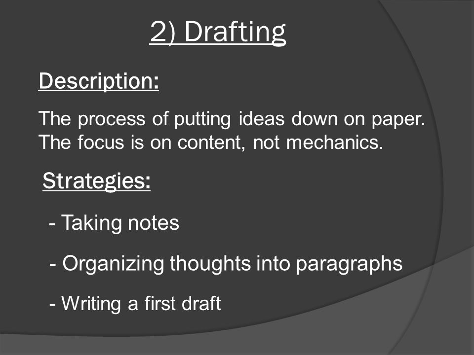 2) Drafting Description: Strategies: - Taking notes