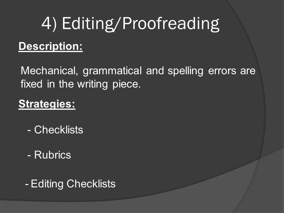 4) Editing/Proofreading