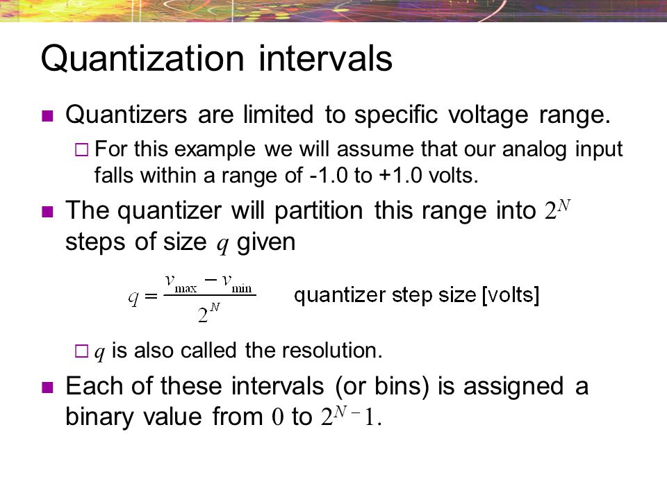 Quantization intervals