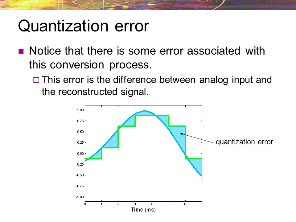 Quantization error Notice that there is some error associated with this conversion process.