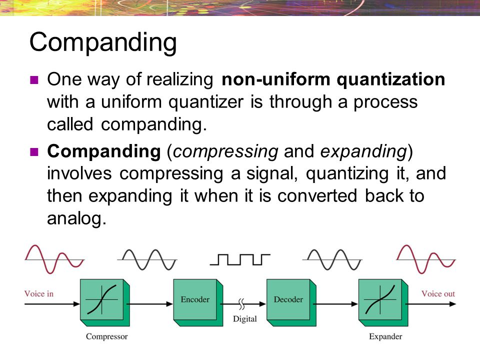 Companding One way of realizing non-uniform quantization with a uniform quantizer is through a process called companding.