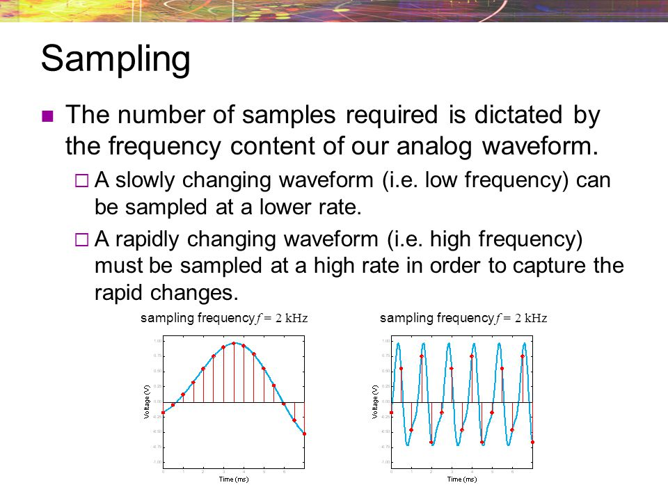 Sampling The number of samples required is dictated by the frequency content of our analog waveform.