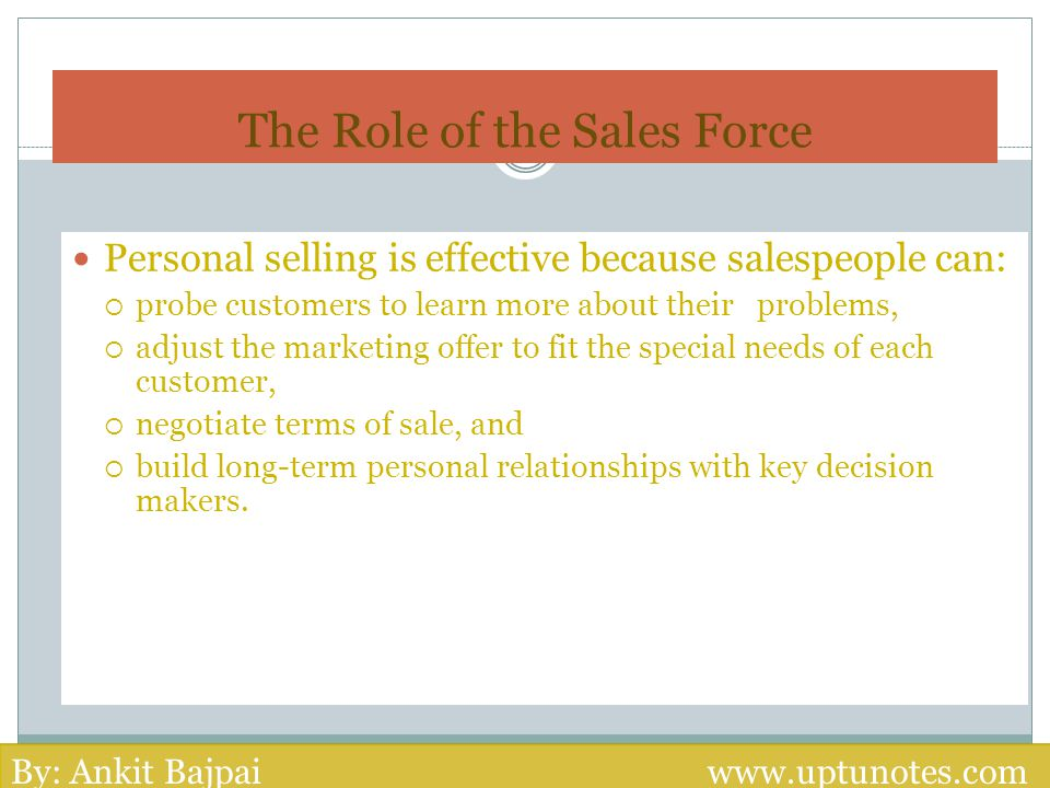 The Role of the Sales Force