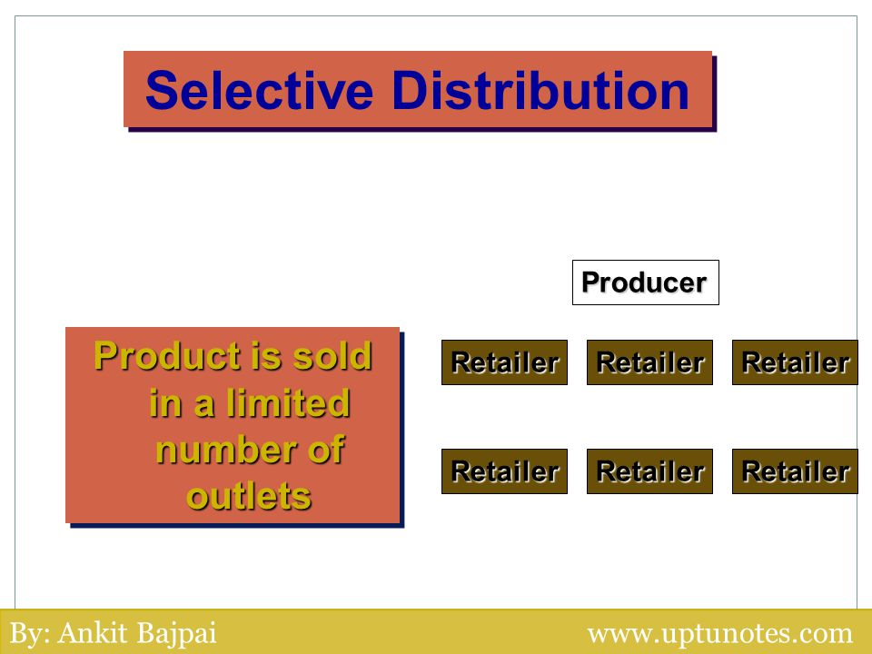 Selective Distribution Product is sold in a limited number of outlets