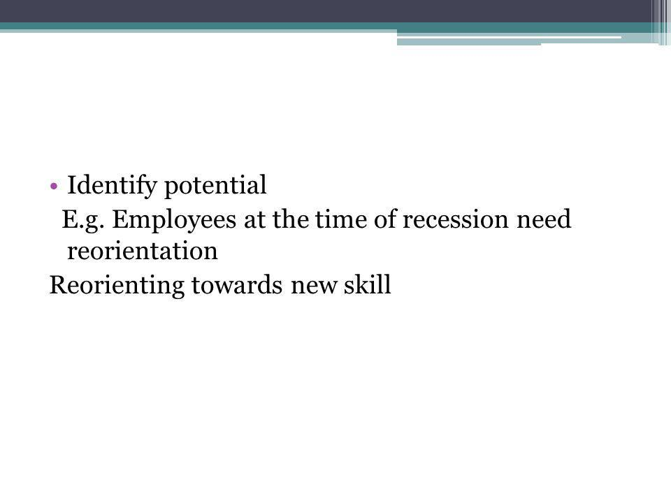 Identify potential E.g. Employees at the time of recession need reorientation.