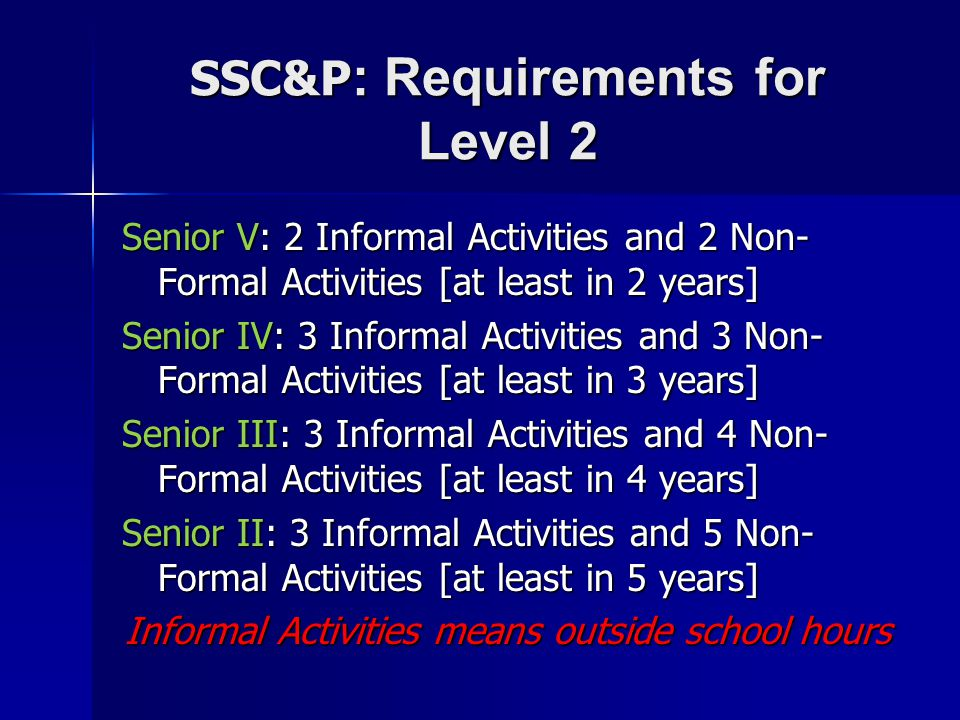 SSC&P: Requirements for Level 2
