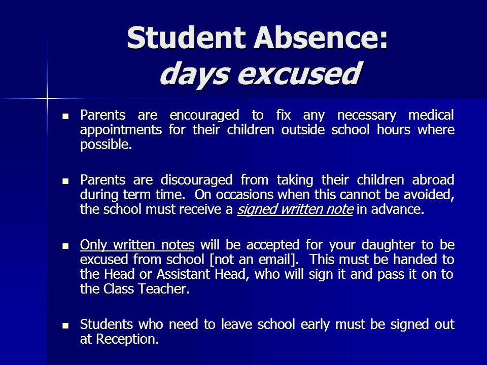 Student Absence: days excused