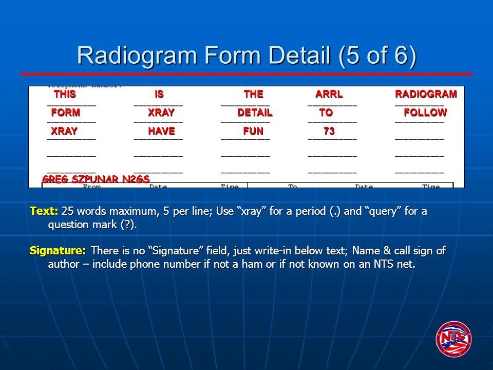 Radiogram Form Detail (5 of 6)