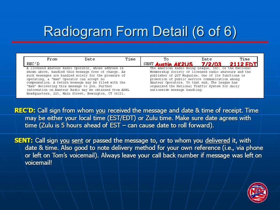 Radiogram Form Detail (6 of 6)
