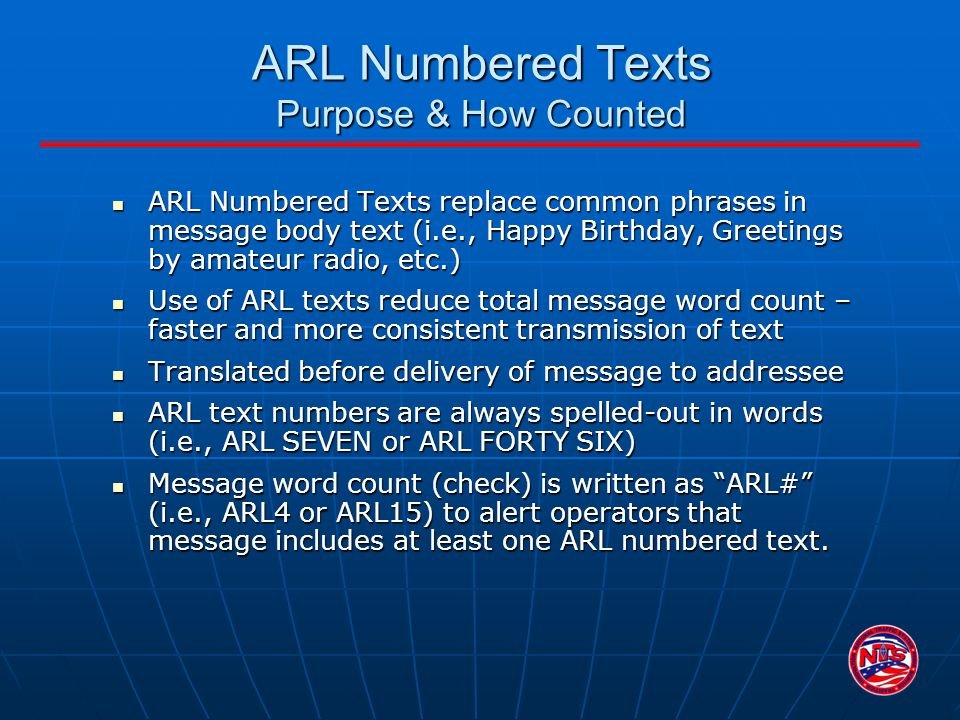 ARL Numbered Texts Purpose & How Counted