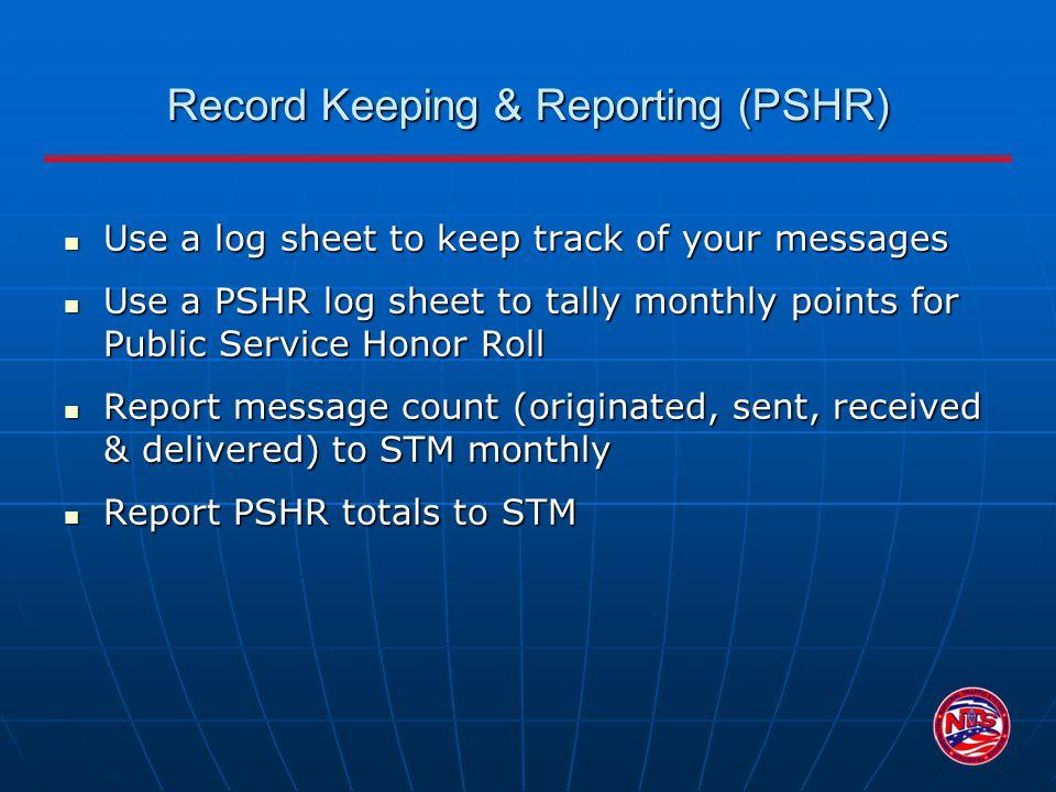 Record Keeping & Reporting (PSHR)
