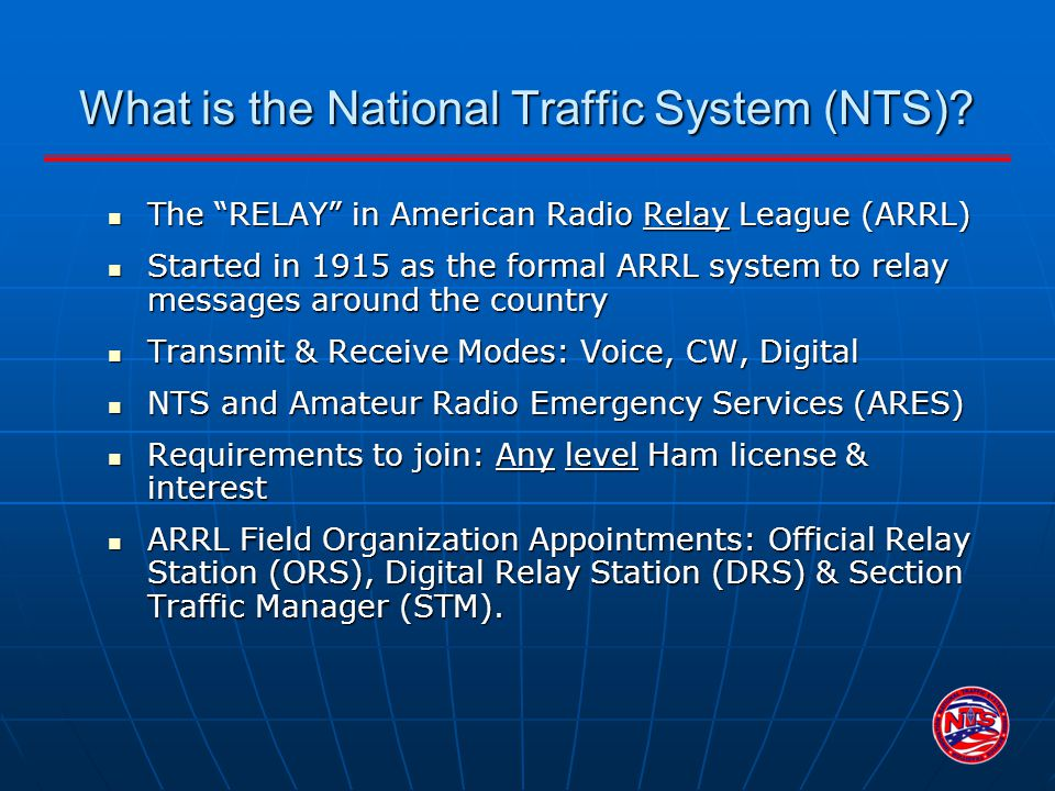 What is the National Traffic System (NTS)