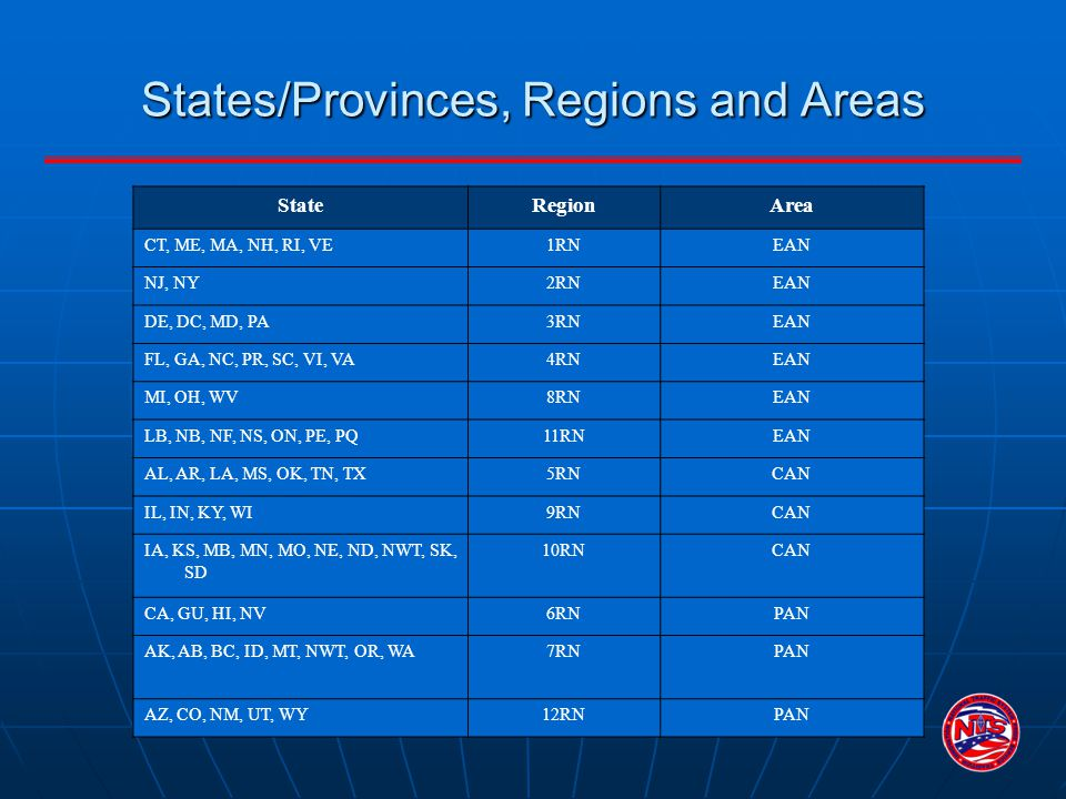 States/Provinces, Regions and Areas